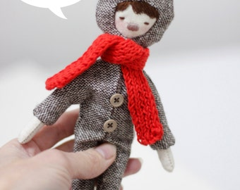 Valentine's gift textile doll: deer girl. Winter gift. Red scarf.