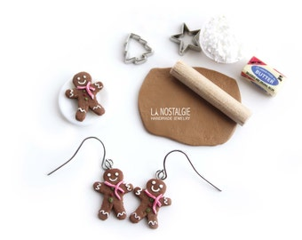 Gingerbread man earrings Christmas charms holiday earring Christmas Cookie Jewelry Gifts for women clay food charms