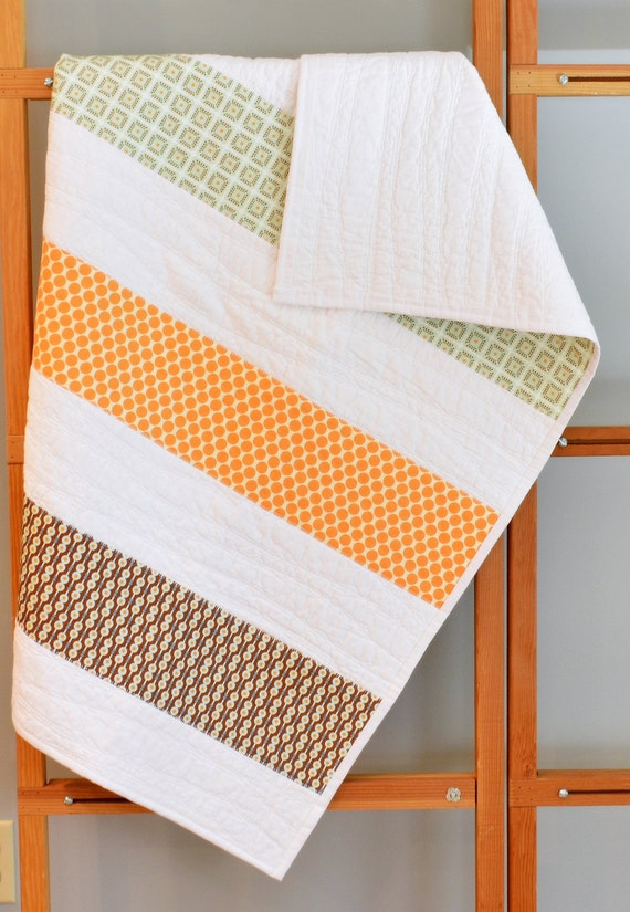Toddler Bed Quilt Baby Quilt Mint Brown By