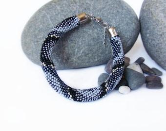 Coworker gift Grey beaded bracelet Wife birthday gift Crochet bead rope bracelet Mother's Day Gift Easter Shades of grey Seed bead beadwork