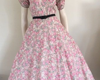 50% OFF SALE Lovely 50s  Floral Cotton Party Dress / Medium / Deadstock NOS