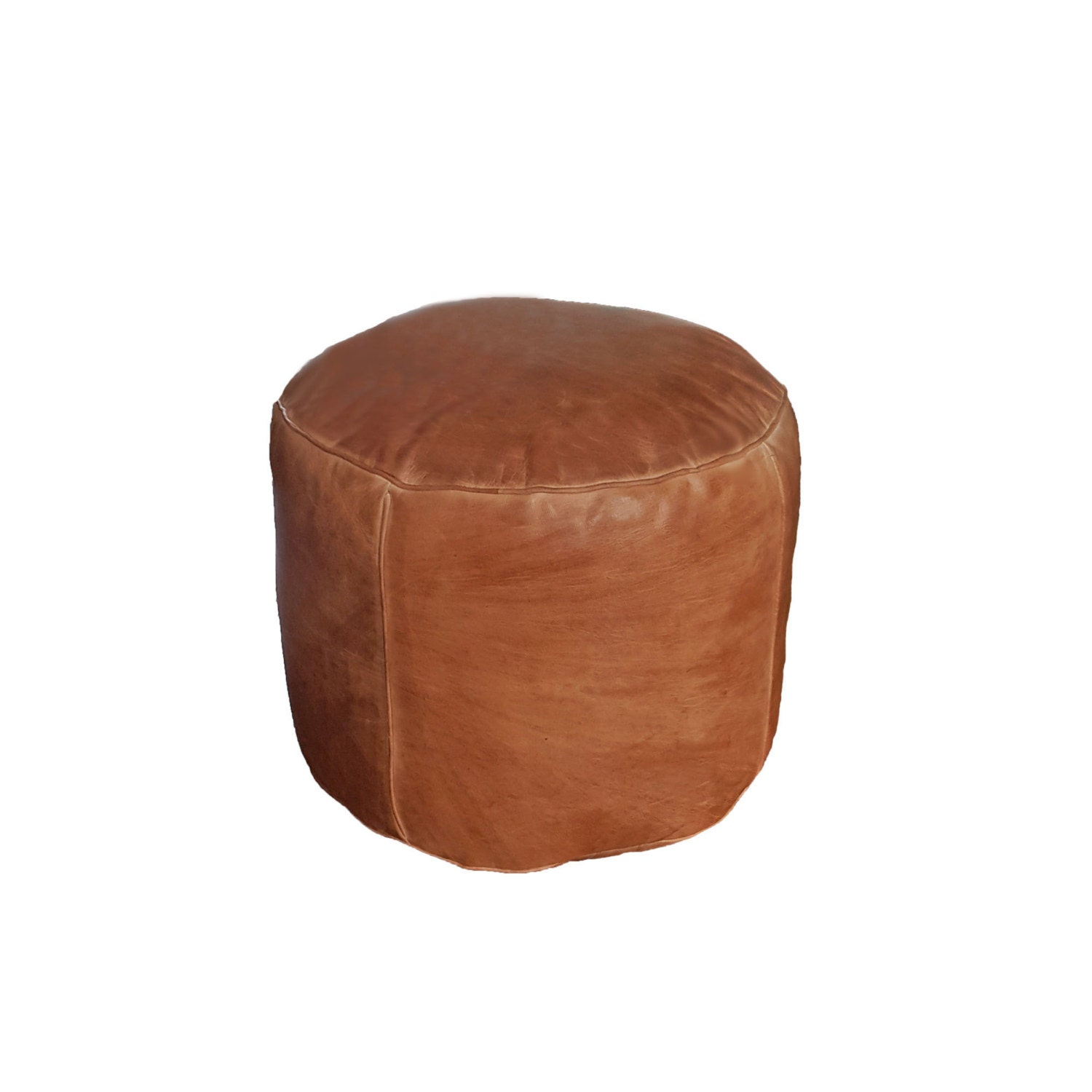 Round Leather Pouf Ottoman Natural Brown Leather