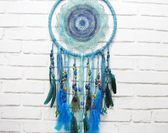 Free Shipping/Turquoise-Blue Colors Crochet Doily Native American Legend Dream Catcher-One Oversize Dream Catcher-13inch -Indian Symbols