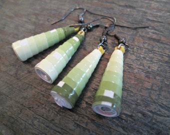 Army Green Earrings, Khaki Green Earrings, Earthy Green Earrings, Paper Bead Earrings, Paper Bead Jewelry, Ombre Earrings, Boho Earrings