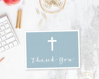 Boy Baptism Thank You Card Folded / Folded Cross Christening Thank You Card / Blue / Printable