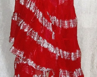 Gypsy skirt,Belly dance,Belly dance wrap skirt,Gypsy belly dance wrap skirt,Bustle skirt,Tribal fusion red gypsy bustle skirt