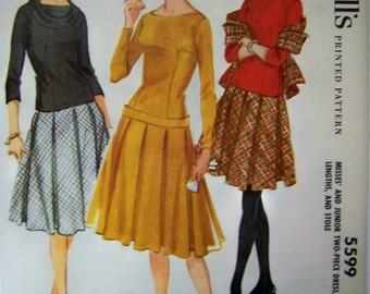 Vintage 1960 McCall's 5599 Misses' Two-Piece DRESS w/ STOLE Pattern sz 12 UNCUT