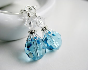 Blue earrings, crystal Swarovski gift, light blue earring dangles, baby blue, online jewelry stores, popular items