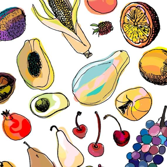 Fruits vector PDF freehand drawing illustration doodle food