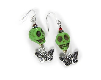 Day of the Dead, Howlite Skulls with Silver plated Butterflies,  Earrings