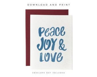 Printable Peace Joy Love Card, Hand Lettered Christmas Card, Christmas Greeting Card, Holiday Greeting Card