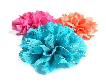 Eyelet Fabric Flower - Dog Collar Flower | Large Flower 18 Colours Collar Attachment