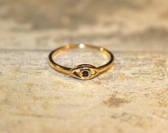 THREE FINISHES AVAILABLE - Teeny Tiny Vermeil & Blue Zircon Evil Eye ring - Size 5 6 7 8