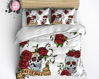 Lightweight Skull Bedding -  Day of the Dead Sugar Skull Design - Comforter Cover, Skull Duvet Cover, Skull Duvet and Pillow Case Set