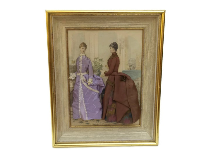 Antique French Fashion Illustration in Gold Frame. French Fashion Diorama. Victorian Fashion Shadow Box.  Victorian Era Clothing.