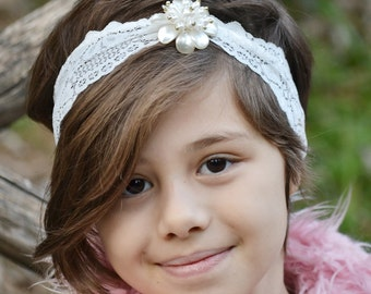 White headbands, white lace headband, flower headbands, bows for little girl, baby girl gift, adult headband, baby shower gift, pearl turban