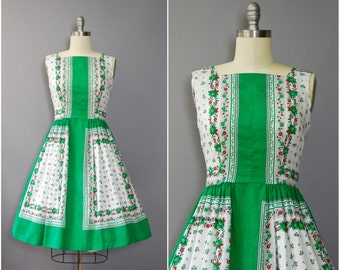 1950's Green and Red Floral Cotton Dress • large