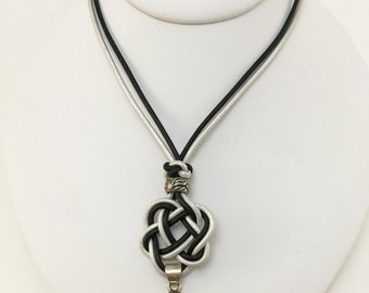 Celtic heart knot necklace with boulder opal in sterling silver setting - made with silver and black leather cord and a magnetic clasp