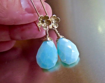 Blue Opal Faceted Briolette Earrings-Sterling Silver Floral Ear Wires- Dangle Wire Wrapped Earrings-Blue Drop Earrings