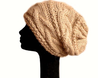 Baby Alpaca Cable Knit Hat / Women Knit Hat / Slouch Beanie Hat