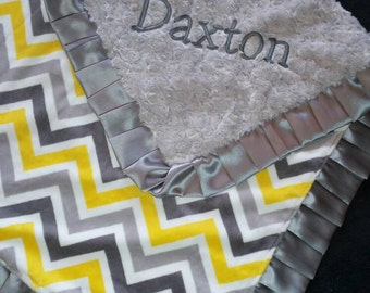 Yellow and Grey Chevron Minky Blanket with Personalization and Satin Options