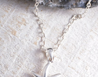 Sterling silver starfish pendant charm chain necklace starfish necklace