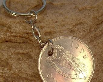 1998 Irish Punt Coin Keyring Key Chain Fob 18th Birthday Red Deer