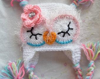 Baby Owl Hat, White Newborn Baby Owl Hat, Handmade Baby Gift, Crochet Infant Baby Owl Hat. Baby Winter Hat, White Owl Hat, Baby Hat Handmade