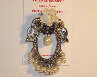 Flower / Pearl theme,  1-of-a-kind Collage Brooch and/or Pendant made with vintage jewelry. . Silver, white, flowers, pearls. #14h.