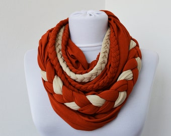 Brick Wheat Loop Scarf Infinity Jersey Scarf Partially Braided Circle Scarf  Scarf Nekclace