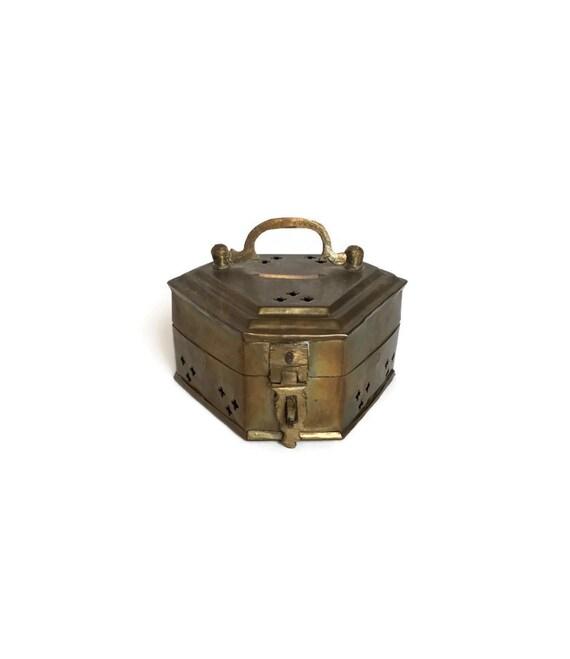 Vintage Brass Cricket Box metal potpourri holder asian decor