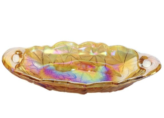Vintage carnival glass dish oval iridescent floral nut candy bowl