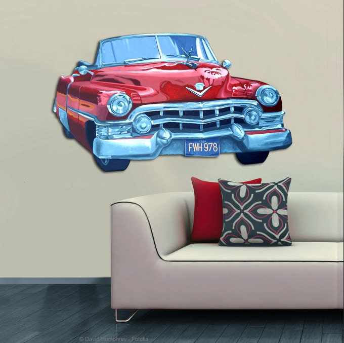 Mural wall art decor cadillac original wood cutout 4 feet 5 - Decor mural original ...