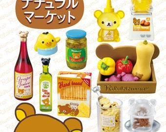 2015 / Full Set Of 8 / Re-ment / Rilakkuma / Natural Market / Dollhouse Miniatures Kits / Foods / Drinks / Cooking