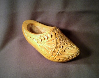 Tan Wooden Dutch Shoe - Carved Wood - Figurine, Decor Piece, Planter