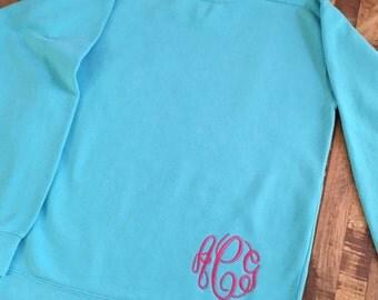 Comfort Colors Monogrammed Sweatshirt; Lagoon Blue Only