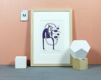 My Magic is Real | Linoldruck, Linolschnitt, Grafik, Linoldruckgrafik, Druckgrafik, Print, Druck, Zauberer, magisch, Knallbraun, A5