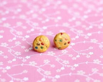 Miniature M&M Cookie Earrings, Polymer Clay Earrings, Miniature Food Jewelry, Cookie Stud Earrings