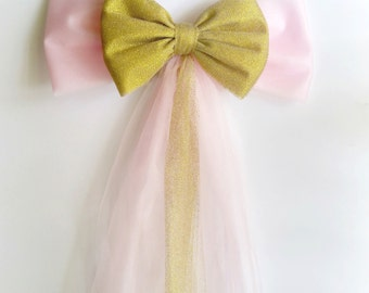 Pink Gold Wedding Bow, BULK DISCOUNT Set of 10, Pink Gold Wedding Decor, Pink Gold Baby Shower, Tulle Pew Bow,  Church Aisle Decoration