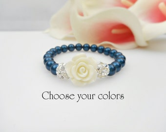 FREE United States Shipping Swarovski Pearl And Rose Stretch Flower Girl Bracelet Pearl And Rhinestone Flower Girl Bracelet Flower Girl Gift