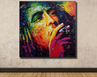 Colorful painting of Bob Marley 67×67 cm