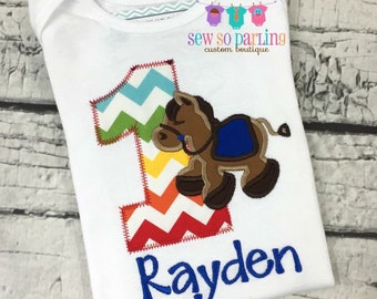 1st Birthday Horse shirt - Baby Boy Birthday Horse Outfit - 1st Birthday Farm Birthday Outfit - 1st Birthday Outfit