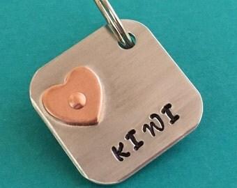 Pet tag, heart id tag, square id tag, dog tag, Dog tag for dogs, custom id tag,  mixed metal tag, pet id tag, square pet tag, tag with heart