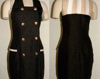 1980s 80s Dress / Black & White / Cut out / straps / fitted / nautical / uniform / chic / vintage size 7/8