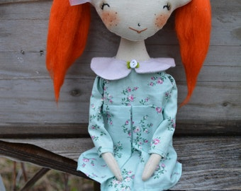 Red-haired girl - Cloth doll - Handmade toy - Textile doll - Oddly Sweet Plush  OOAK
