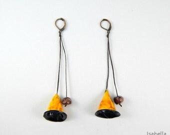Ochre bell flower earrings, christmas gift, organic polymer clay jewelry, artsy long earrings, yellow cone earrings, flower bell beads