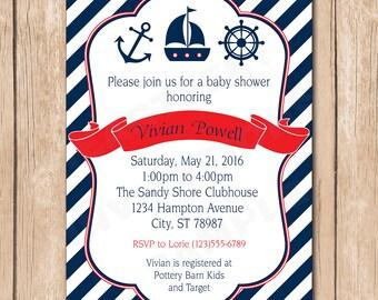 Nautical Boy Baby Shower Invitation - Sailboat, Sailor, Anchor - 1.00 each printed