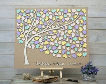 Custom colors Wedding guest book 3D alternative tree wood hearts Rustic wedding guest book Unique guestbook wooden Tree of life Wedding gift