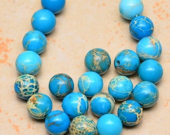 6mm    Bright Blue and Teal with Tan Sea Sediment Jasper  6mm Gemstone Round Beads   Aqua Terre