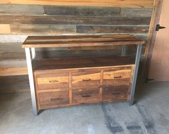 Reclaimed Wood Media Console / Industrial 6-Drawer TV Stand